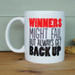 Winners get back up mug