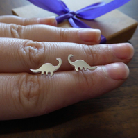 Dinosaur Earrings, Handmade Silver Brontosaurus Studs