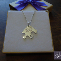 The Missing Piece Silver Puzzle Necklace, Handmade Autism Necklace