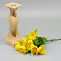 Handmade Wooden Vase With Test Tube. For Single Bud or Small Bunch. ""