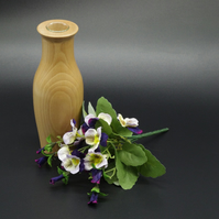 Handmade Wooden Vase With Test Tube. For Single Bud or Small Bunch.