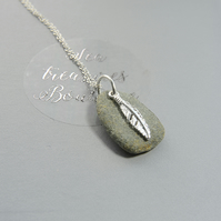 Natural Cornish Beach Pebble Necklace With Sterling Silver Feather Charm