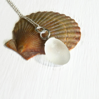 White Sea Glass Bubble Necklace With 18 inch Sterling Silver Fine Trace Chain