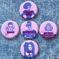 Drag Race quotes: Set of 5 25mm button badges.
