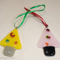 Fused Glass Christmas Tree Decorations - Too Soon?