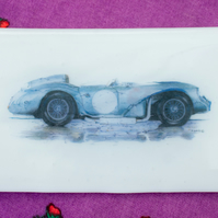 1950 Le Mans Racer - Hand Drawn Image on Fused Glass Platter