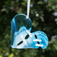 A Stitched Heart - Fused Glass Hanger