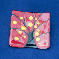 Red, Black & Yellow Fused Glass Trinket Dish