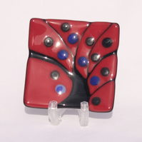 Red, Black & Blue Fused Glass Trinket Dish