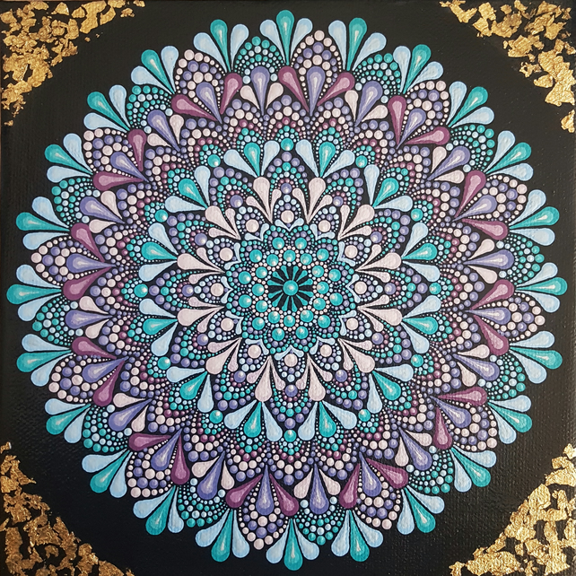 Blue, Purple and Gold Mandala on Canvas