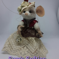 Needle felted Steampunk Mouse