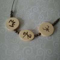 Pyrography Moon Glyph Balance Rune Necklace Wood Burned Wiccan Pagan Witchcraft