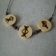 Viking Pyrography Protection Health Rune Necklace Norse Wood Burned Pendant