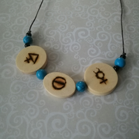 Pyrography Alchemical Symbol Necklace Wood Burned Rune Three Principles Pendant