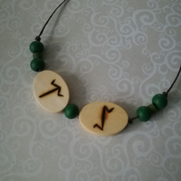 Anglo Saxon Pyrography Earth Fire Rune Necklace Wood Burned Witchcraft Elements