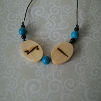 Anglo Saxon Pyrography Rune Fire Ice Necklace Wood Burned Witchcraft Elements
