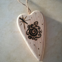 Rustic Pyrography Heart Witch Rune Forgiveness Healing Luck Magic Pagan Ornament