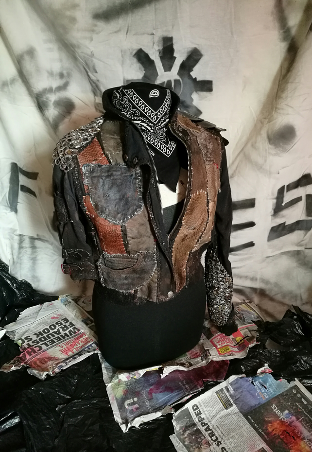 Apocalyptic Punk Patchwork Leather Jacket, Womens Small, for Costume and LARP