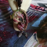 Zombie Pierced Ear Horror Keyring, Creepy Bag Charm Accessory, Zombie Key Ring