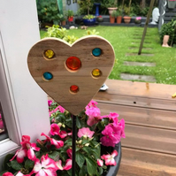 Handmade Wood and glass heart on metal stick