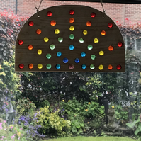 Rainbow sun catcher, Handmade, glass, wood, Free postage UK