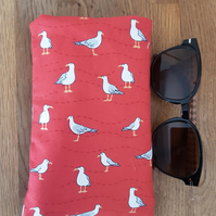Phone or sunglasses cover with seagulls