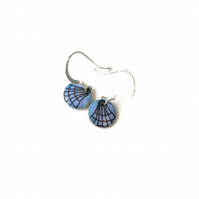Sterling silver and enamel circle earrings, blue with shell design