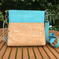 Cork fabric cross body bag, shoulder bag. Ocean blue and natural with silver.