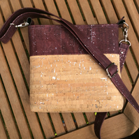Cork cross body bag, cork shoulder bag. Purple and natural with silver flecks.
