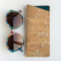 Cork fabric glasses case, natural cork with silver flecks