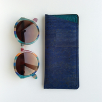 Navy blue glasses case, cork fabric spectacle case, pouch.