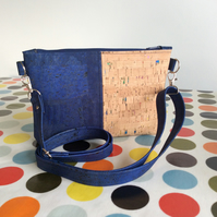 Small cork shoulder bag, crossbody bag, twin colour, navy blue and multi flecked