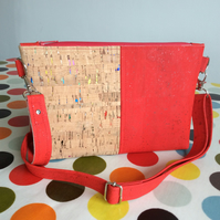 Small cork fabric bag, crossbody bag, shoulder bag, red and multi flecked