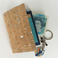 Wallet, cork fabric with silver flecks