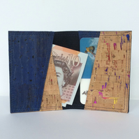 Card holder, blue cork fabric