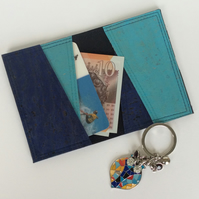 Card holder, denim blue cork fabric