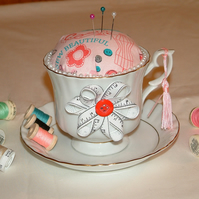 White and Gold Tea Cup Pin Cushion