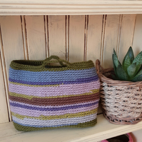 Unique crochet storage basket.  Entitled 'Goss Moor'