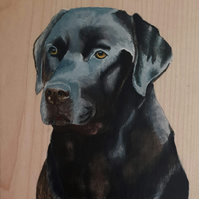 Original painting on wood of a Labrador