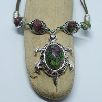 Ruby In Zoisite Gemstone Necklace And Silver Turtle Pendant