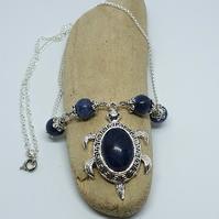 Sodalite Gemstone And Silver Metal Turtle Necklace And Pendant