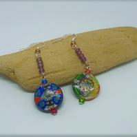 Long Mismatched Dangle Earrings- Hand painted Glass Beads