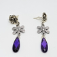 Cut Glass And Metal Flower Dangle Drop Earrings With Stud Fitting