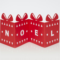Luxury fold out Christmas card with cut out present design and NOEL message