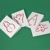 Pack of 4 handmade cute Christmas cards, Xmas cards with cut out illustrations