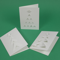 Pack of 3 stylish geometric cut out Christmas cards in white - 3 tree designs