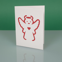 Cute handmade modern CHRISTMAS CARD with cut out ANGEL