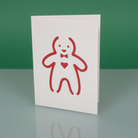 Cute handmade modern CHRISTMAS CARD with cut out GINGERBREAD MAN