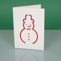 Cute handmade modern CHRISTMAS CARD with cut out Snowman