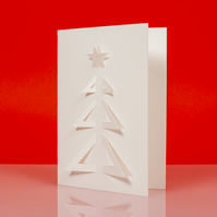 Stylish geometric XMAS TREE cut out Christmas card in white - Design B
